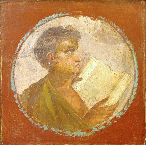 エルコラーノの遺跡から発見された巻物を読む若者の絵