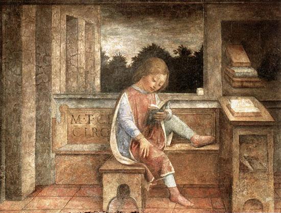 15世紀の画家ヴィンチェンツォ・フォッパが描いた「本を読む幼き日のキケロ」
