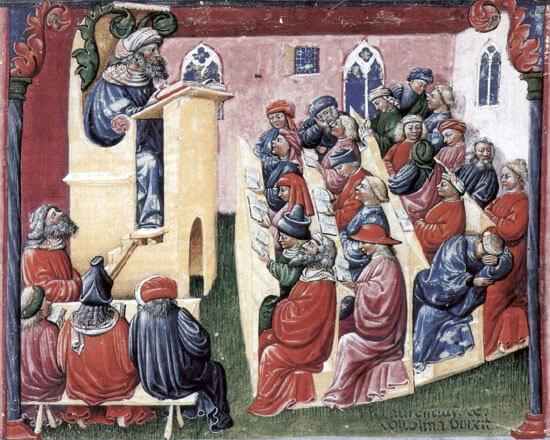 1350年頃のボローニャ大学の様子 ベルリン国立版画館所蔵