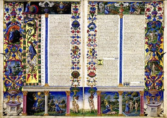 フェッラーラの画家タッデーオ・クリヴェッリの細密画た美しい聖書